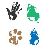 Eco icons. Environmental icon with the symbol of the planet earth Royalty Free Stock Photo
