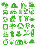 Eco icons. Vector green eco icons set on white stock illustration