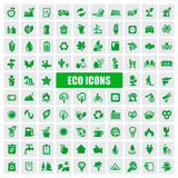Eco icons. Vector green eco icons set on white Stock Photo