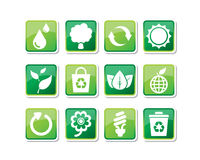 ECO Icons. 12 of environmental-friendly icons such as tree, petroleum, leaves, recycle bin, flower, light bulb, etc Stock Photo