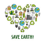 Eco icons creating a heart symbol, sketch style Stock Image