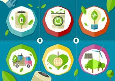 Eco icons green battery car Stock Photography