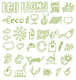 Eco icons hand draw 3 Royalty Free Stock Photos
