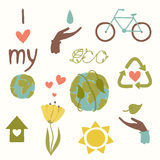 Eco icons hand draw. Set of vector design elements eps 10 Royalty Free Stock Photos