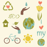 Eco icons hand draw Stock Photos