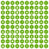 100 eco icons hexagon green. 100 eco icons set in green hexagon isolated vector illustration Royalty Free Stock Image