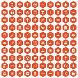 100 eco icons hexagon orange. 100 eco icons set in orange hexagon isolated vector illustration Royalty Free Stock Images