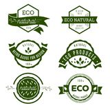 Eco icons, labels set. Organic tags. Natural product elements. L Stock Photo