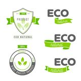 Eco icons, labels set. Organic tags. Natural product elements. L Stock Photos