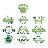 Eco icons, labels set. Organic tags. Natural product elements. Stock Photos