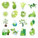 Eco icons. Eco logic idea icon set illustration Stock Photos