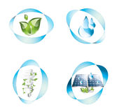Eco icons set. Eco icons, plant, water, lightbulb and solar panel Royalty Free Stock Photography