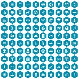 100 eco icons sapphirine violet. 100 eco icons set in sapphirine hexagon isolated vector illustration Royalty Free Stock Photos