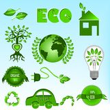 Eco icons set Royalty Free Stock Images