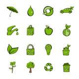 Eco icons set cartoon. Eco icons set in cartoon style isolated on white background illustration stock illustration