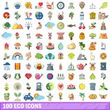 100 eco icons set, cartoon style. 100 eco icons set. Cartoon illustration of 100 eco vector icons isolated on white background royalty free illustration