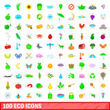 100 eco icons set, cartoon style. 100 eco icons set in cartoon style for any design vector illustration Stock Image