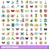 100 eco icons set, cartoon style. 100 eco icons set in cartoon style for any design vector illustration Stock Photo