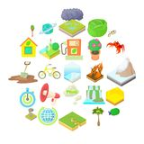 Eco icons set, cartoon style. Eco icons set. Cartoon set of 25 eco vector icons for web isolated on white background Royalty Free Stock Images