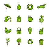 Eco icons set cartoon. Eco icons set in cartoon style isolated on white background vector illustration Royalty Free Stock Images