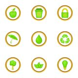 Eco icons set, cartoon style Royalty Free Stock Photo