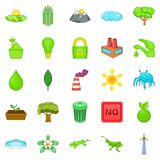 Eco icons set, cartoon style Royalty Free Stock Photography