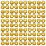 100 eco icons set gold. 100 eco icons set in gold circle isolated on white vectr illustration Royalty Free Stock Images