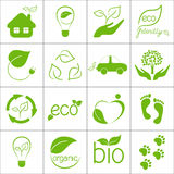 Eco icons. Set of green eco friendly icons vector illustration