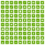 100 eco icons set grunge green Royalty Free Stock Image