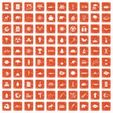 100 eco icons set grunge orange. 100 eco icons set in grunge style orange color isolated on white background vector illustration Vector Illustration