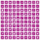 100 eco icons set grunge pink. 100 eco icons set in grunge style pink color isolated on white background vector illustration Stock Photo