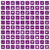 100 eco icons set grunge purple Royalty Free Stock Photo