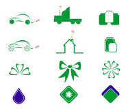 Eco icons. Set of eco icons isolated on white background royalty free illustration