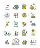 Eco icons. Set of 20 minimalistic ecology icons Stock Illustration