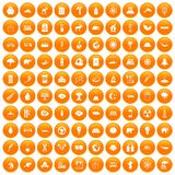 100 eco icons set orange. 100 eco icons set in orange circle isolated vector illustration Stock Illustration