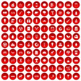 100 eco icons set red. 100 eco icons set in red circle isolated on white vectr illustration Royalty Free Illustration