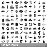 100 eco icons set, simple style. 100 eco icons set in simple style for any design vector illustration Royalty Free Stock Image
