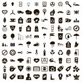 100 eco icons set, simple style. 100 eco icons set in simple style on a white background Royalty Free Stock Photos