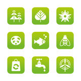 Eco icons set. Set of 9 vector green square eco icons royalty free illustration