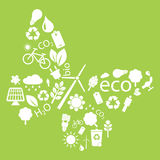 Eco icons to form into a butterfly shape. On green background vector illustration