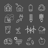 Eco icons vector set. Thin line ecological signs for infographic, website or app. Powersave lamp, nuclear plant, wind energy, elec Royalty Free Stock Photo