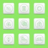 Eco icons, web buttons. Eco icons on web buttons. Vector illustration stock illustration