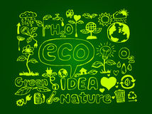 Eco Idea Sketch and Eco friendly Doodles Stock Photo