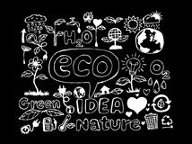 Eco Idea Sketch and Eco friendly Doodles Royalty Free Stock Photos