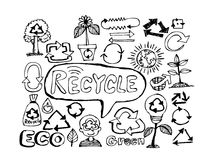 Eco Idea Sketch and Eco friendly Doodles Royalty Free Stock Images