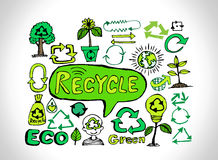 Eco Idea Sketch and Eco friendly Doodles. An  images of Eco Idea Sketch and Eco friendly Doodles Stock Images
