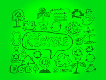 Eco Idea Sketch and Eco friendly Doodles Stock Photos