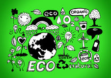 Eco Idea Sketch and Eco friendly Doodles Royalty Free Stock Photo