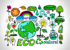 Eco Idea Sketch and Eco friendly Doodles Stock Image