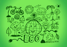 Eco Idea Sketch and Eco friendly Doodles Royalty Free Stock Photography